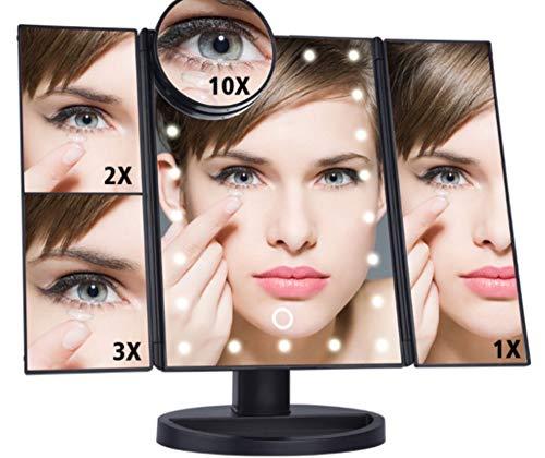 Espejo de Maquillaje Recargable Led Iluminado, Tríptica Aumentos 10x, 3X, 2X,1x Rotación...