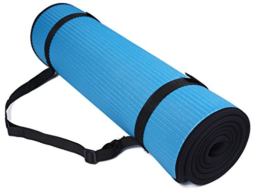 BalanceFrom GoFit All-Purpose 2/5-Inch (10mm) Extra Thick High Density Anti-Slip Exercise Pilates Yoga Mat with Carrying Strap (BFGP-10BL)