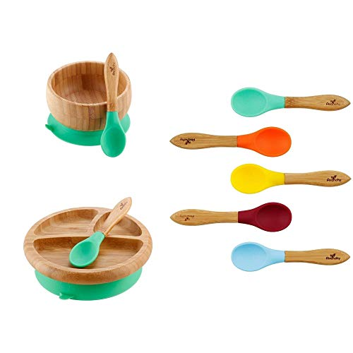 Rainbow Gift Set Green - Baby Bowl Set + Baby Plate Set + Assorted Baby Spoons Set. Baby Shower, Baby Registry, Home Set & More. Baby Girl, Baby Boy, Unisex. BPA Free