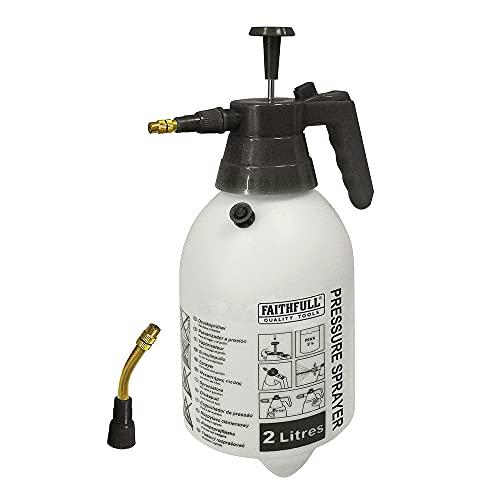 Faithfull FAISPRAY2 Hand Held Garden Pressure Sprayer 2 Litre Includes Two Brass Spouts