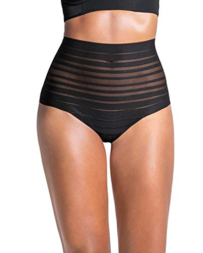 Leonisa lace stripe high waist compression tummy control thong for women Black