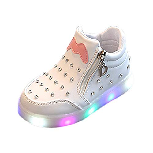 Vielone_Lumi Toddler Kids Boys Girls PU Ankle Boots with Zip High Top Sneakers with LED Light up Tennis Shoes Luminous Walking Shoes Flashing Hiking Boots for Outdoor Sports