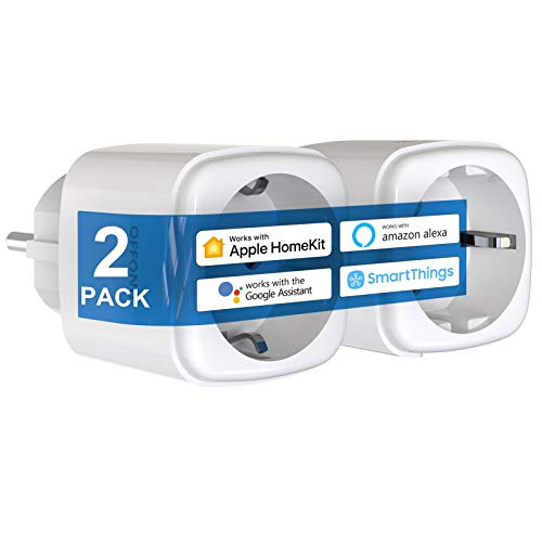 Homekit - Juego de 2 enchufes para Apple HomeKit, Apple Siri, Alexa, Google Assistent, Tuya Smart, SmartThings y control remoto de aplicación, temporizador y programado, no requiere hub, 16 A/3520 W