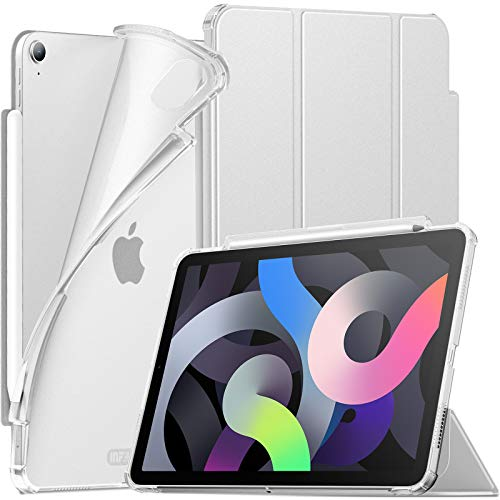 INFILAND Hülle für iPad Air 10.9 2020(4. Generation), iPad Air 2020 Hülle mit Stifthalter, Superleicht Halbtransluzent Gefrostet TPU Schutzhülle, Auto Schlaf/Wach,Silber