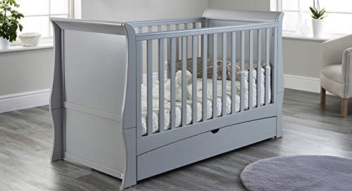 Baby Snooze - Classic Sleigh Full Cot Bed with Drawer & Adjustable Mattress Height - converts to Toddler Bed (Grey)