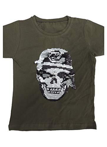 Jungen Kinder T Shirt mit Farbwechsel Pailletten Motiv Größe 86-164 (86-98 (3-4), Khaki)