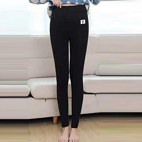 AOXING Pantalones suaves y cálidos para mujer, leggings de lana de terciopelo grueso, elásticos, para invierno, elásticos, para yoga, gimnasio, correr, ejercicio, uso diario (BK, L2)