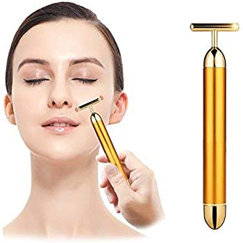 Voxmic 1pc 24k Gold Energy Beauty Bar Electric Vibration Facial Massage Roller Waterproof Face Skin Care T Shaped Anti Wrinkle Massager For Forehead Cheek Neck Clavicle Arm Leg Amazon In Beauty