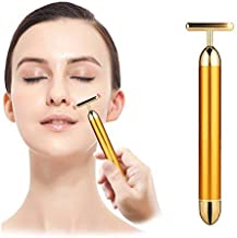 VOXMIC 1Pc 24K Gold Energy Beauty Bar Electric Vibration Facial Massage Roller Waterproof Face Skin Care T-Shaped Anti Wrinkle Massager for Forehead Cheek Neck Clavicle Arm Leg