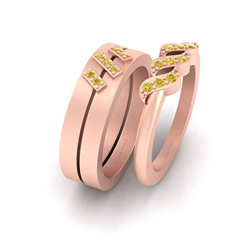 Anillo de compromiso de 0,20 quilates con diamantes amarillos para él y para ella de plata de ley 925