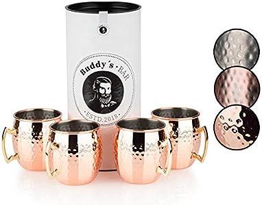 Buddy'sBar - Taza MoscowMule, set de 4,4x 550ml,tazas de acero de alta calidad con revestimiento de cobre, apta para alimentos, efecto martillo, tazas para cócteles con caja de regalo