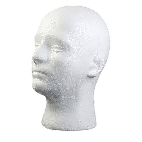 Maniquí masculino de espuma de poliestireno con cabeza de manikin modelo peluca gafas sombrero expositor soporte – blanco Rycnet