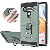 StarLodes Compatible for LG Stylo 6 Case,[HD Screen Protector] Shockproof Defender Cover with Rotatable Ring Kickstand Fit Magnetic Car Mount-Midnight Green