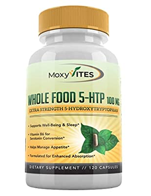 5HTP 100mg Supplement, Plus B6, 5 HTP Organic Whole Food - Natural Sleep Aid, Mood Support, Anxiety Relief, Calm, Appetite Control - Best Serotonin Booster - Non-GMO, 120 Vegan Capsules