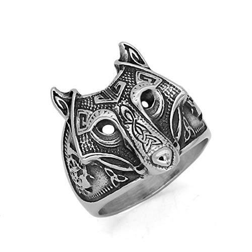 GuoShuang Men 316L Stainless Steel Nordic Norse Viking Odin's Wolf Vantage Ring with Gift Bag