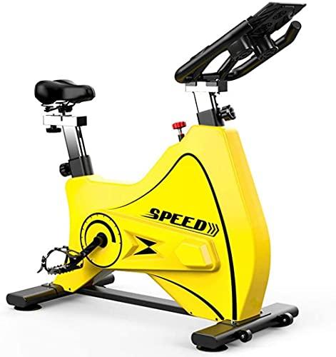 Bicicleta estática Interior Spinning Bicicleta Bicicleta Bicicleta Ejercicio Ultra Silent Aerobic Ejercicio Handarbar Asiento Ajustable Todo Incluido Diseño Amarillo
