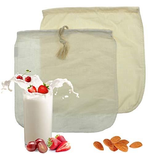 IvyH Sacchetto di Latte di mandorle - Sacchetto di Latte di Cotone Organico/Canapa da 2 Pezzi, Filtro per Yogurt, Panni e Succo di Formaggio, Latte Naturale per soia (12'x 12')