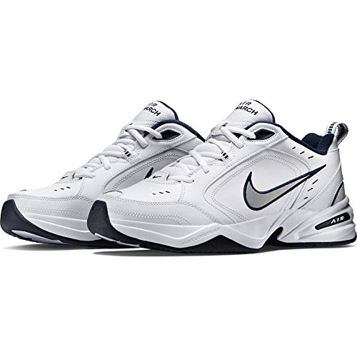 Nike Men's NIKE AIR MONARCH IV (4E) RUNNING SHOES -10.5;   White / Metallic Silver-Midnight Navy