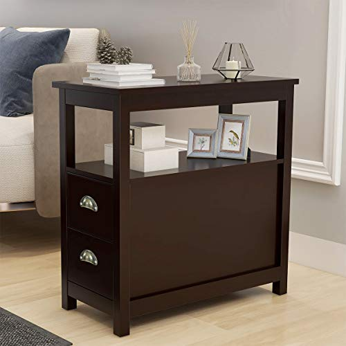 End Table for Living Room Tempered Glass Top Aluminum Alloy Frame Side Table Nightstand Bedroom for Coffee Books Bedside Couch Sofa Modern Home Decor