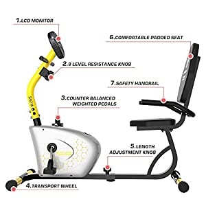 pooboo Recumbent Exercise Bike, Indoor Cycling Bike Adjustable Magnetic Resistance and Seat- Stationary Bike with Monitor
