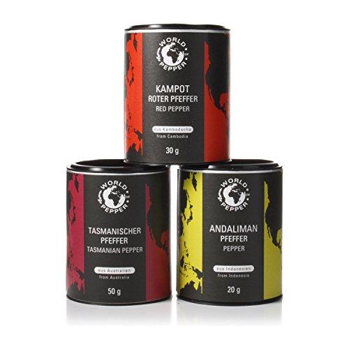 Premium Pfeffer Pack - Echter roter Kampot Pfeffer, Tasmanischer Pfeffer, Andaliman Zitronenpfeffer