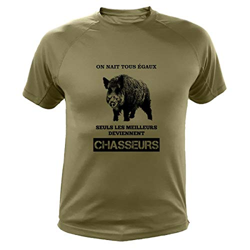 Tee Shirt Chasse on nait Tous égaux Sanglier (XL,142, Vert)