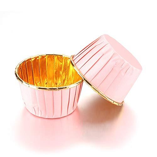 MFGGF Stampi Silicone 12 / 50PCS Torta Bicchieri di Carta del bigné della Focaccina Liner Torta Wrapper Teglia Coppa Involucro di Pasta Strumenti for Feste (Color : Pink 50PCS)