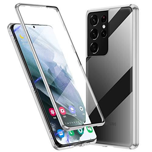 Jonwelsy Funda para Samsung Galaxy S21 Ultra, 360 Grados Delantera y Trasera de Transparente Vidrio Templado Case, Fuerte Tecnología Adsorción Magnética Metal Bumper Cubierta para S21U (Plata)