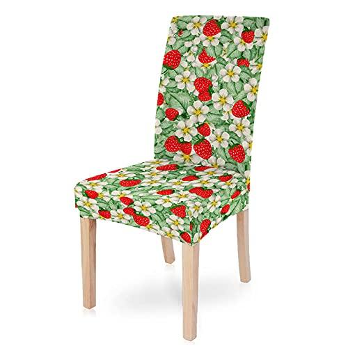 HYBWSO Stuhlhussen Stretch Stuhlbezug Grüne weiße rote Blumenerdbeere 100% Polyesterfaser Abnehmbare Stuhlbezug Esszimmer Stuhl...