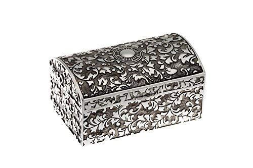 Silberkanne - Portagioie rettangolare con scrigno del tesoro, 10,0 x 6,5 cm, altezza 5,3 cm, placcato argento