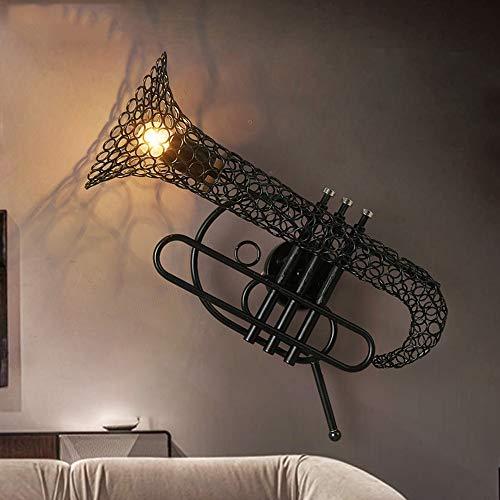 De enige goede kwaliteit Decoratie Retro Saxofoon Iron Art Craft Wandlamp Bar Cafe Loft Industriële Stijl Restaurant Aisle Retro Wandlamp Zwart 52x35x23cm