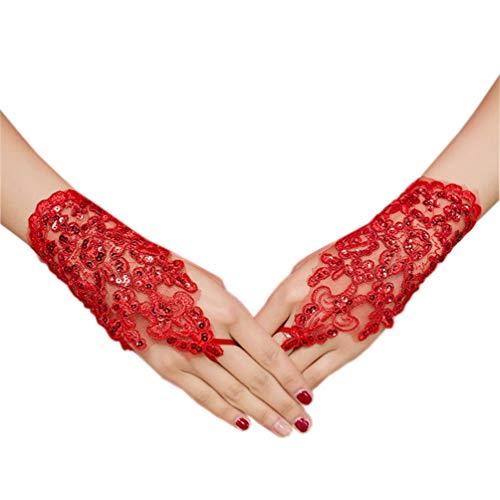 NUREINSS Brauthandschuhe Spitzenhandschuhe Hochzeit Braut Hochzeitshandschuhe Brautkleid Spitze Fingerlose Handschuhe für Hochzeitsfest
