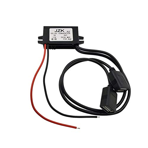 JZK® Voiture Convertisseur de Puissance DC 12V à 5V / 3A Tension Convertisseur avec Deux connecteurs d'adaptateur USB pour Le téléphone Charge Voiture Radio Audio etc.