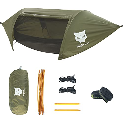 Night Cat Camping Hammock Tent with Mosquito Net and Rain Fly for 1 2 Persons Backpacking Bed with Tree Strap Lightweight Waterproof Hiking Backyard Outdoor