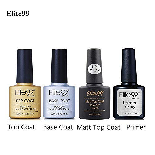 Base Top Coat Semi Permanent Elite99 4pcs Vernis à Ongles Vernis Semi Permanent TOP Coat Mat UV LED Soak Off Nail Polish avec Primer Vernis gel 10ml