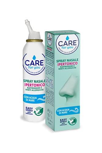 Care For You, Spray Nasale Ipertonico da 125ml, per Inalazione e Aerosolterapia, Adatto ad Ogni Età