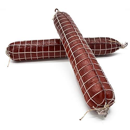 2 Salami Attrappen Set 45 cm Deko Lebensmittelattrappe Wurst im Netz Requisite Fake Fleisch Metzger Fleischerei originalgetreu