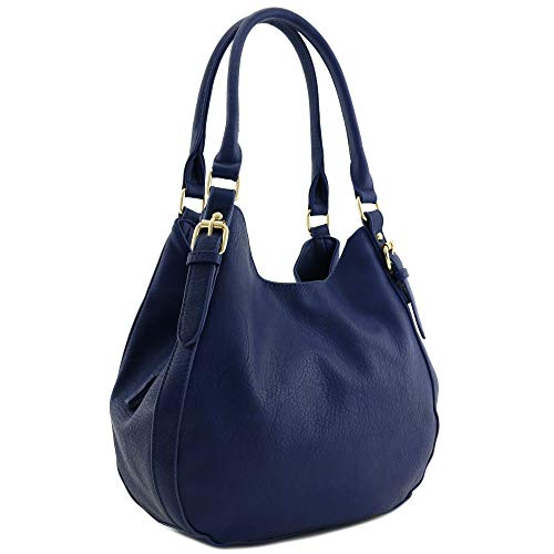 Light-weight 3 Compartment Faux Leather Medium Hobo Bag (Navy)