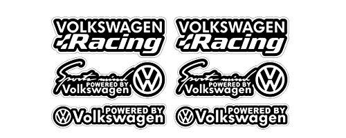 Racing Aufkleber Set 6x Sticker 10cm passt zu Volkswagen VW Auto Sports Mind Tuning / Plus Schlüsselringanhänger aus Kokosnuss-Schale / Notebook Golf GTI Polo Scirocco Lupo Passat Touareg Käfer