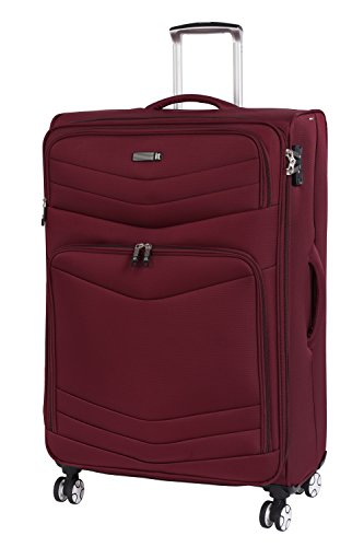 it luggage Intrepid 8 Wheel Lightweight Semi Expander Suitcase Large with TSA Lock Maleta, 80 cm, 132 Liters, Rojo (Dark Red)