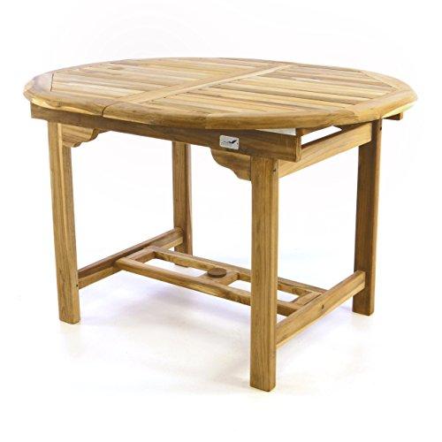 Divero Gartenmöbel-Set Terrassenmöbel-Garnitur Sitzgruppe – Esstisch 120/170 cm ausziehbar & 4 x Klappstuhl mit Armlehne – Teakholz massiv Natur kaufen  Bild 1*