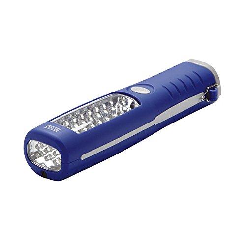Alyco 190511 - Linterna de trabajo bifocal de 24 + 6 leds con iman + colgador + 3 pilas AAA