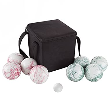 Hey! Play! 80-75090 Bocce Ball Set- Outdoor Family Bocce Game for Backyard, Lawn, Beach & More- 4 Red & 4 Green Swirl Balls, Pallino & Carrying Case