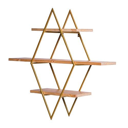 DNSJB - Estantería de pared para sala de estar, hierro forjado, madera maciza, marco de pared de estilo industrial, barra de ocio (color: beige)