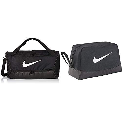 Nike Brasilia Duffel Bag - Black/Black/White, One Size & Club Team Toiletry Bag - Black/Black/White, 27 x 16 x 16 cm, 6 l