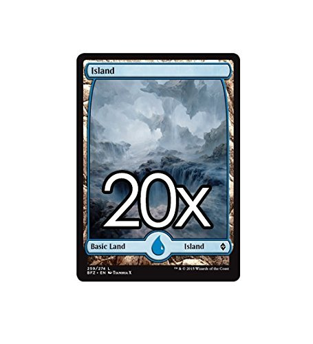 Cool Stuff Inc., LLC 20 Battle for Zendikar Island #259 Magic The Gathering Basic Full Art Land Lot
