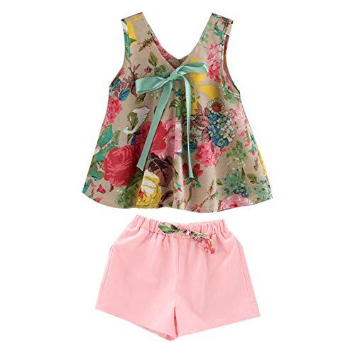 Summer Kids Girls Outfits Ärmelloses Kleid mit V-Ausschnitt Mode Kleid mit Blumendruck Lässiges Party-Strandkleid mit Shorts