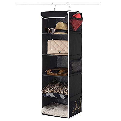 ZOBER 5-Shelf Hanging Closet Organizer - 6 Side Mesh Pockets Breathable Polypropylene Hanging Shelves - for Clothes Storage and Accessories, 12' x 11 ½' x 42' (Black)