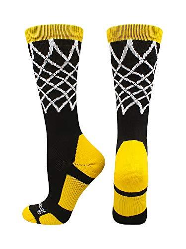 MadSportsStuff Elite calcetines de baloncesto con red de longitud media (varios colores), XL, Negro/Dorado