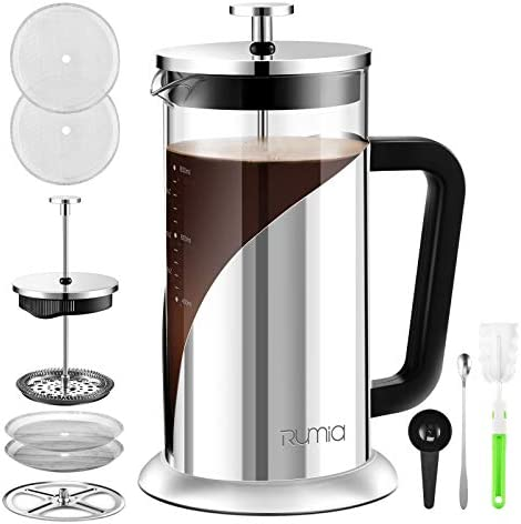 French Press Coffee Maker Rumia 304 Stainless Steel Coffee Press Glass French Press with Scale product image